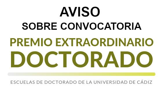 AVISO sobre plazo de convocatoria de Premios Extraordinarios de Doctorado correspondientes al curso académico 2018/2019